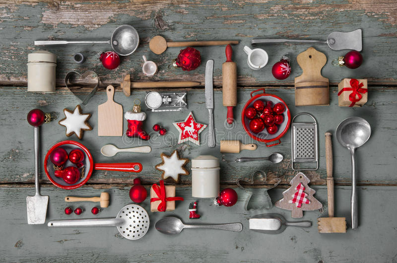 Vintage country stlye decoration for christmas with wood and kit. Old children toys of the kitchen. Vintage or country style with nostalgia decoration for stock photos