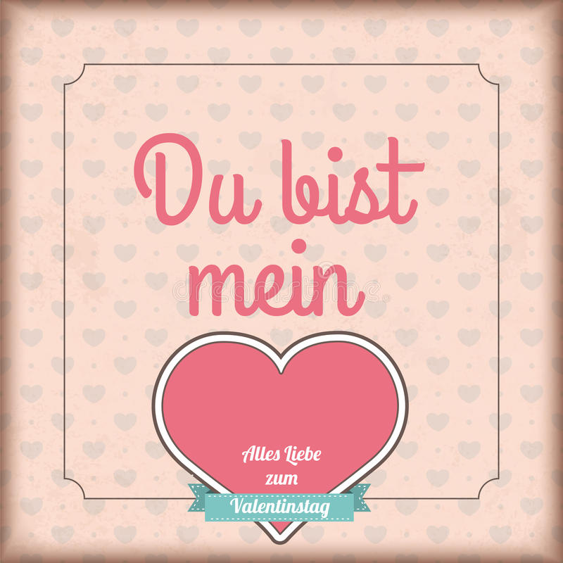 German Text Du Bist And Alles Liebe Zum Valentinstag, Translate You Are My  And Happy Valentines Day.