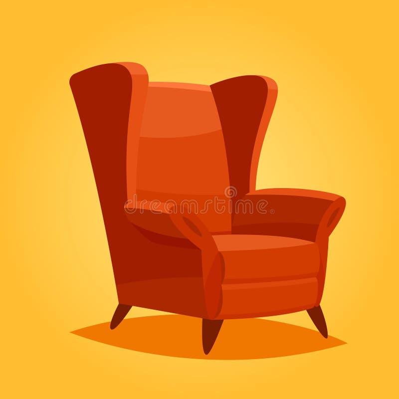 Vintage cozy home chair. Cartoon vintage cozy home chair vector illustration stock illustration