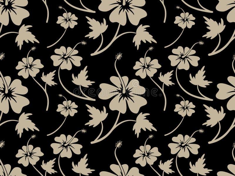 Vintage Cream Hibiscus Flower Pattern design royalty free illustration