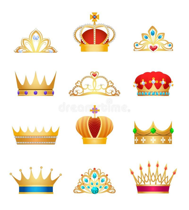 Vintage crown jewels stock illustration