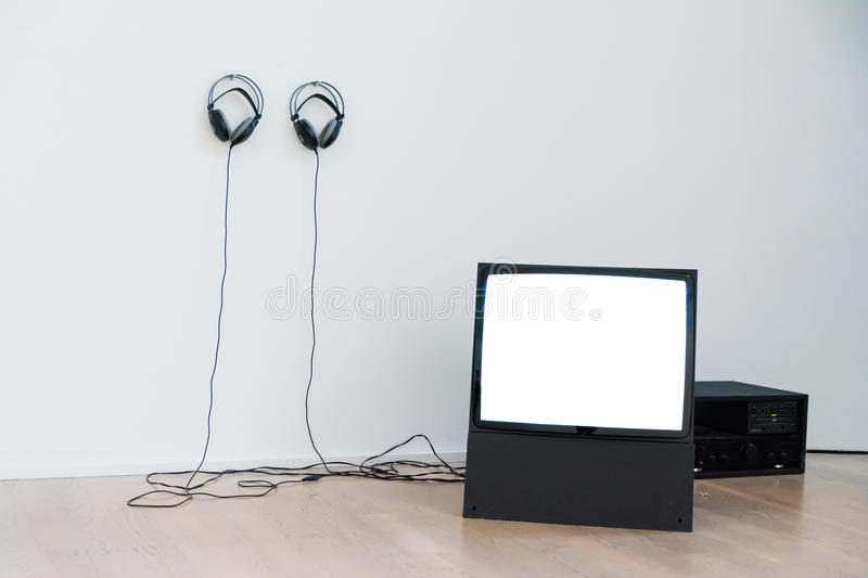 Vintage CRT TV Screen Blank White Isolated Headphones View royalty free stock photography