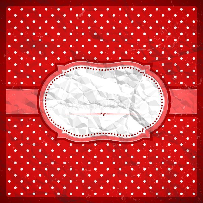 Vintage crumpled polka dot frame stock illustration