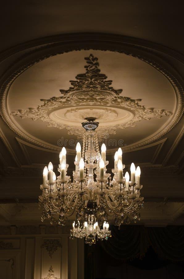 Vintage crystal chandelier stock image