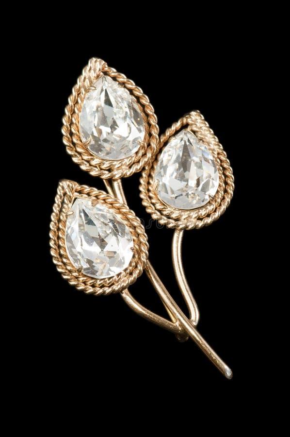 Free Vintage Crystal Leaf Brooch Stock Image - 18317201