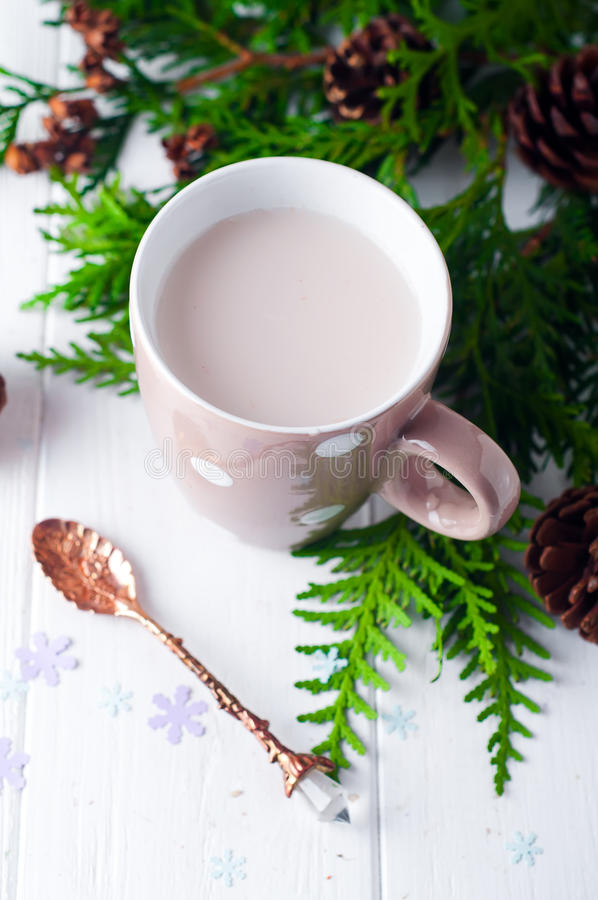 Vintage Cup of hot cocoa on wooden background decorated with spruce and pine cones, stock photography