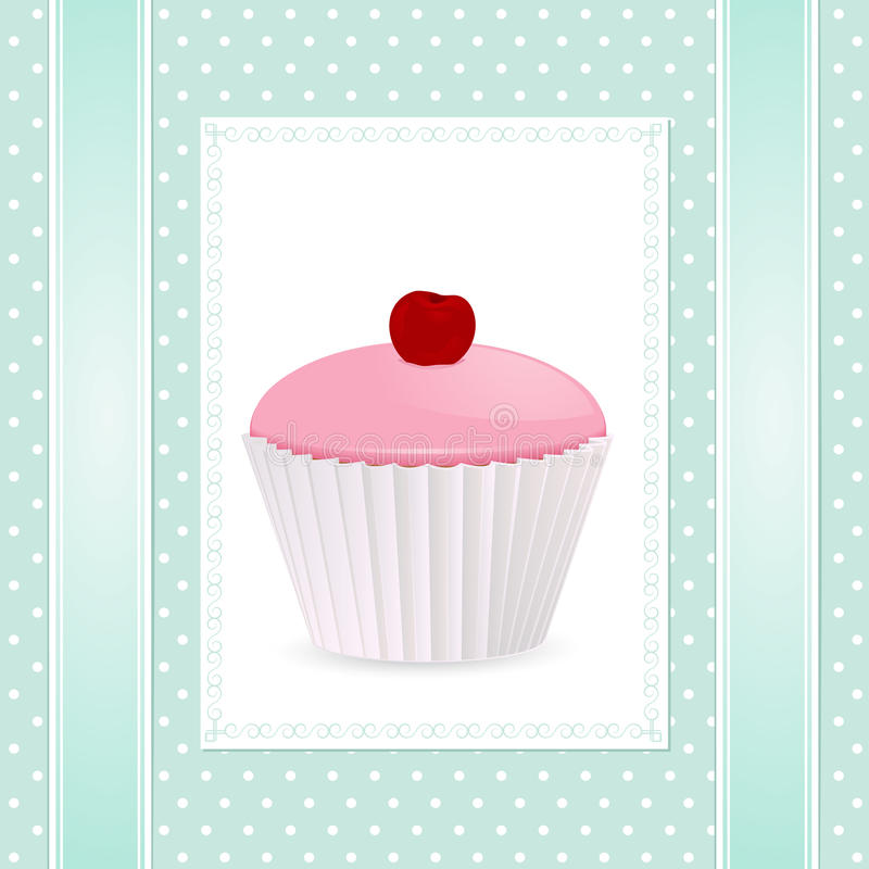 Vintage cupcake background vector illustration