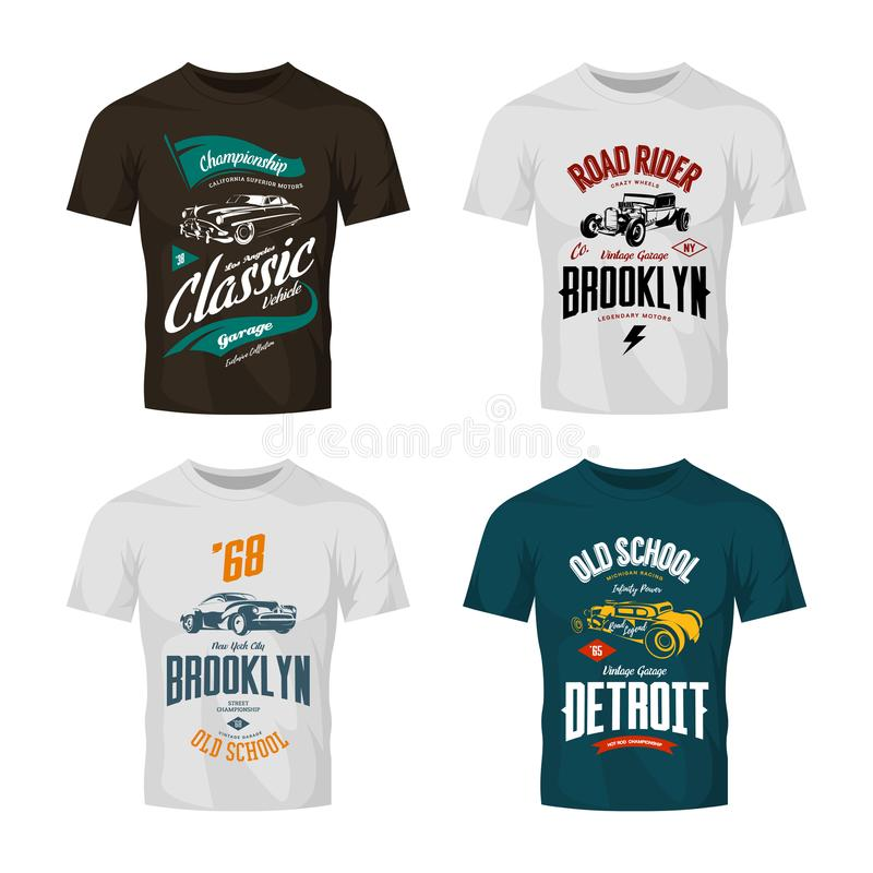 Vintage custom hot rod and classic car vector logo t-shirt mock up set. Premium quality old sport vehicle logotype tee-shirt emblem illustration. American vector illustration
