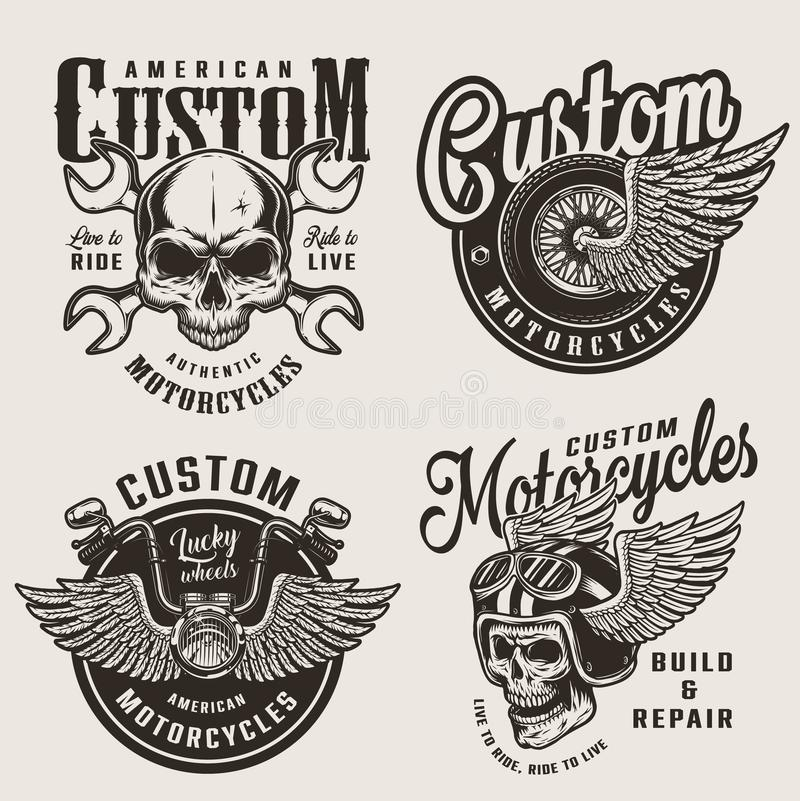 Vintage custom motorcycle emblems stock illustration