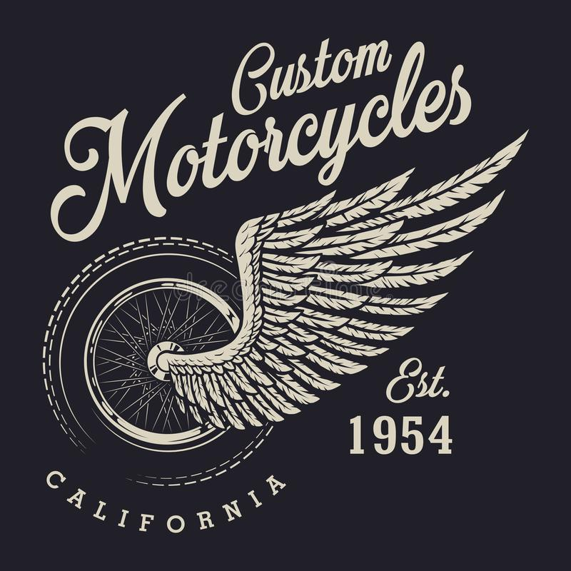 Vintage custom motorcycle logo vector illustration