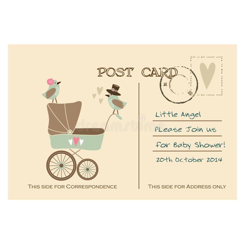 Vintage Cute Baby Shower Greeting Postcard, Invitation Stock Vector ...