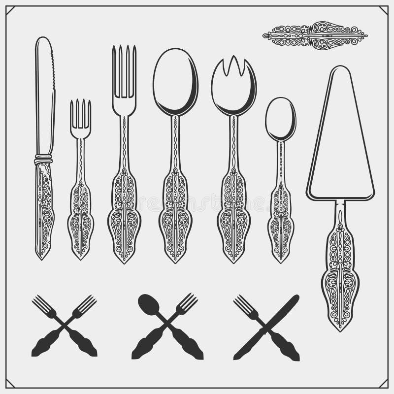 Vintage cutlery set. Outline drawing spoon, fork and knife. Cooking design. royalty free illustration