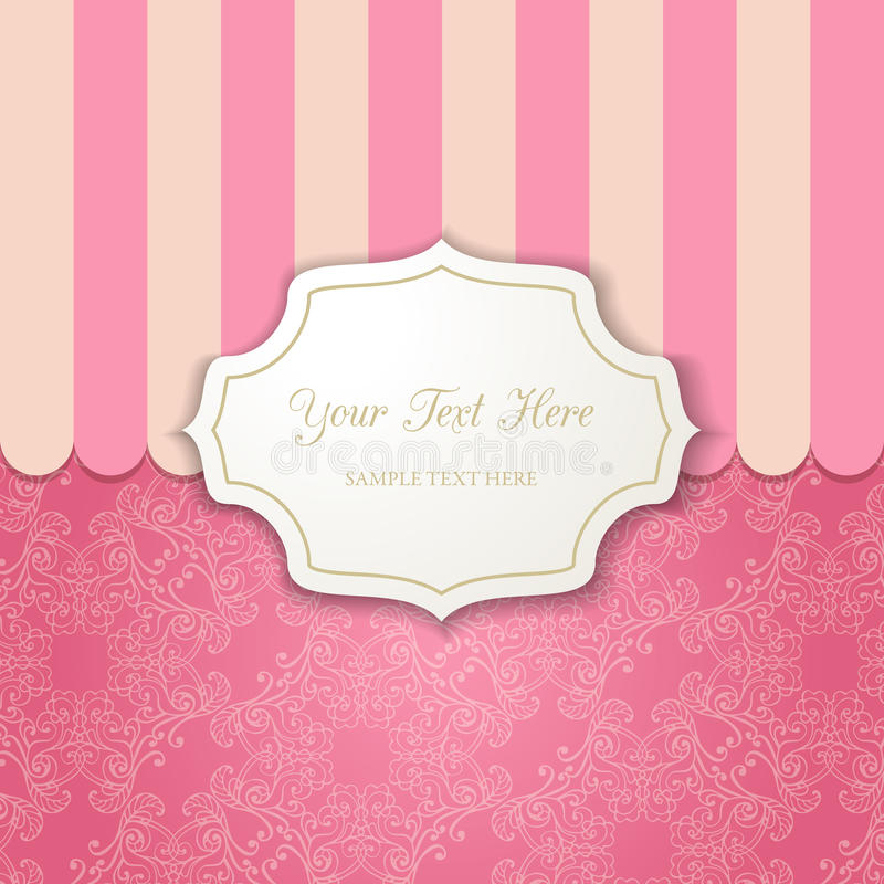Vintage cutout frame with shadow on a striped pink background. vector illustration