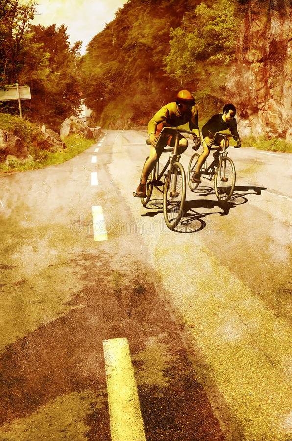 Download Vintage cyclists stock illustration. Image of grunge - 32210535