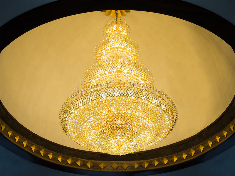 Vintage cystal lamp. On white ceiling stock photo