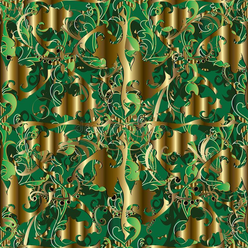 Vintage 3d Baroque seamless pattern. Vector ornamental interesting gold background. Green leaves, swirls, dots, flowers, line. Art tracery antique victorian vector illustration