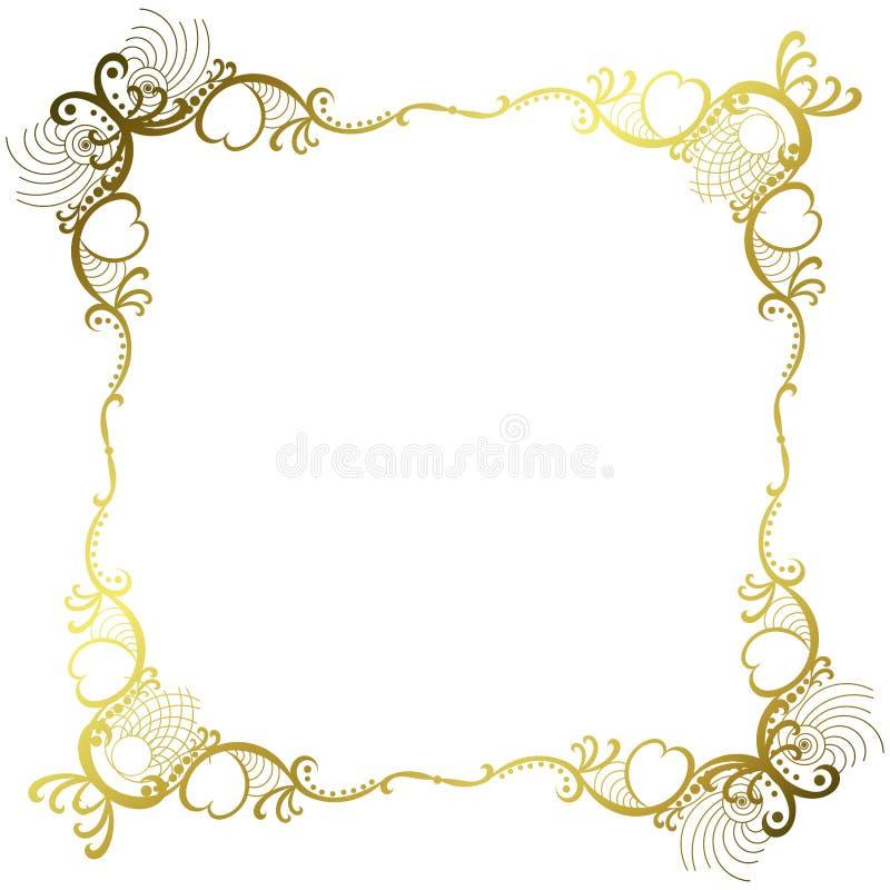 Vintage d'or de vieux de miroir cadre de dentelle illustration de vecteur