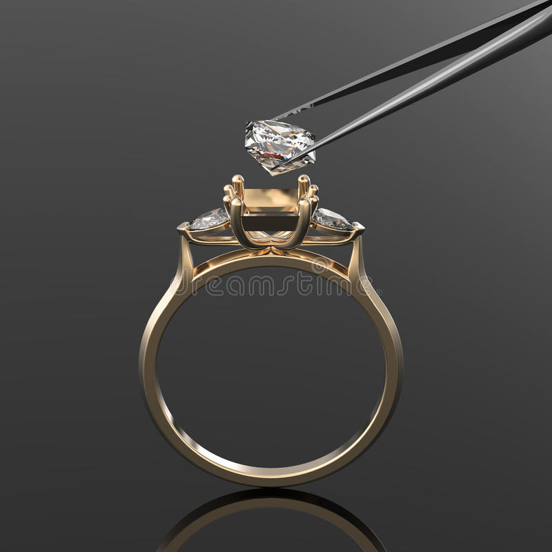 Vintage 3d golden ring, a diamond in tweezers vector illustration