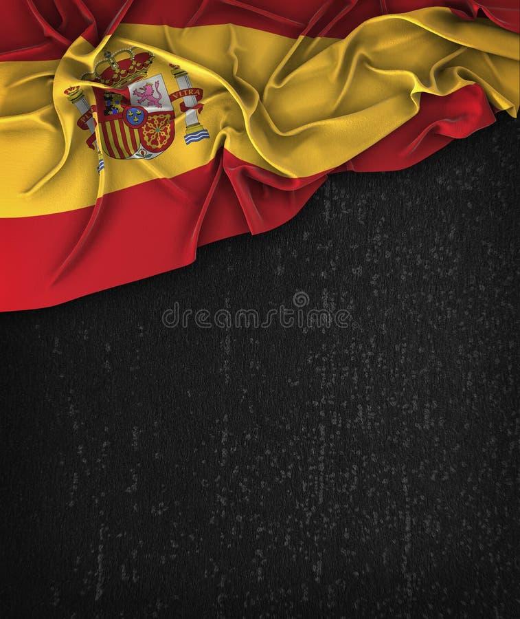 Vintage da bandeira da Espanha em um quadro do preto do Grunge fotografia de stock royalty free
