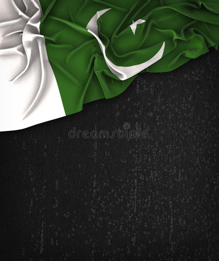 Vintage da bandeira de Paquistão em um quadro do preto do Grunge imagens de stock royalty free