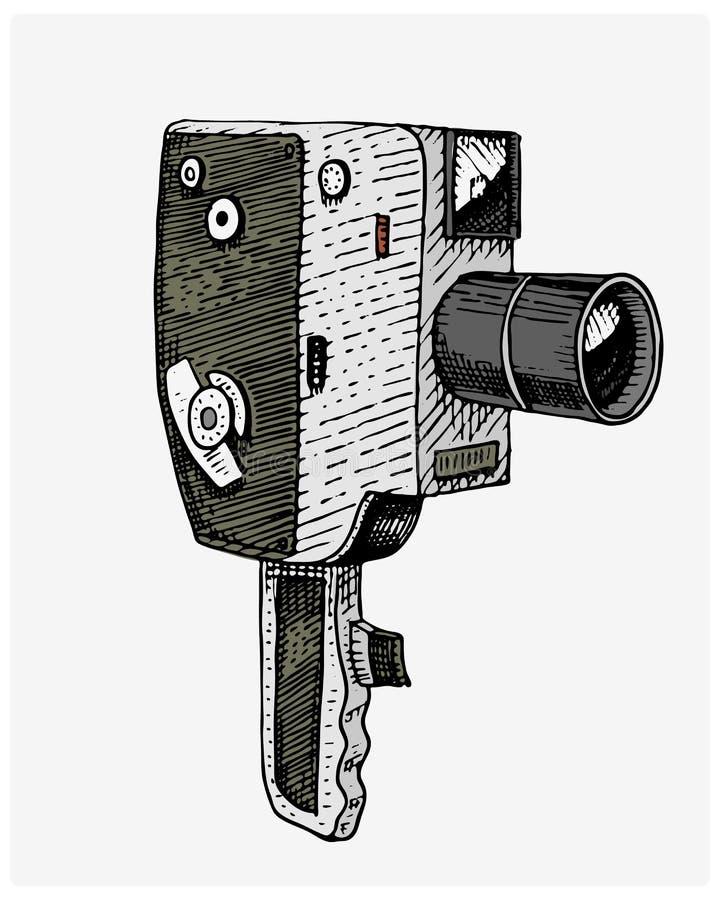 Vintage da câmera do filme ou do filme da foto, gravado, mão tirada no esboço ou estilo do corte da madeira, lente retro de vista ilustração stock