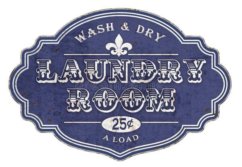 Vintage da chapa do sinal da lavandaria ilustração royalty free