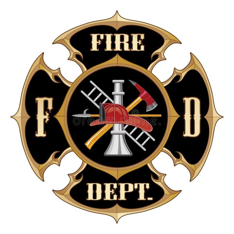 Vintage da cruz maltesa do departamento dos bombeiros ilustração stock