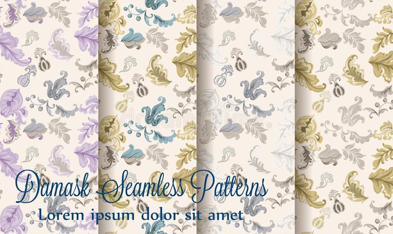 Vintage damask patterns set collection Vector. Old 30s style decoration texture. S stock illustration