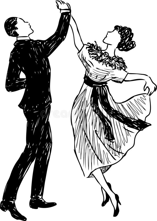 Vintage dancing couple royalty free illustration