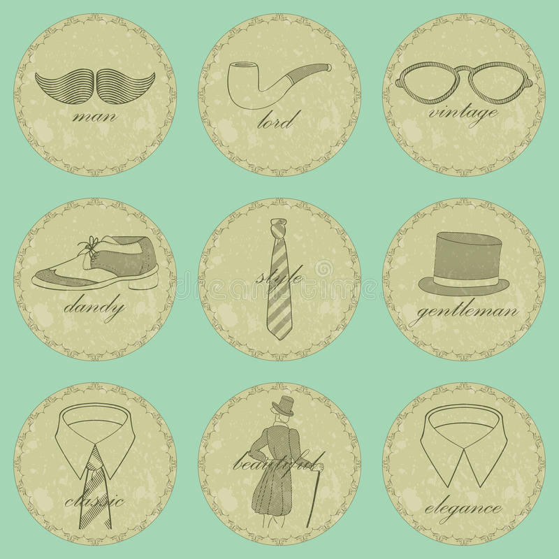 Free Vintage Dandy Icons Stock Photography - 32178452
