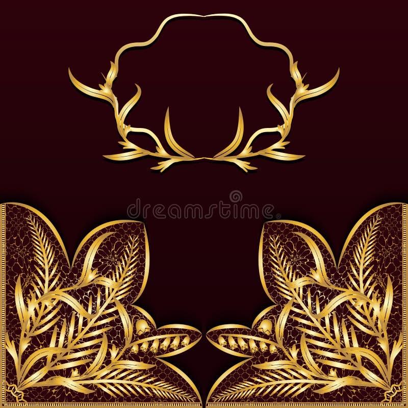 Vintage dark background with gold lace. vector illustration