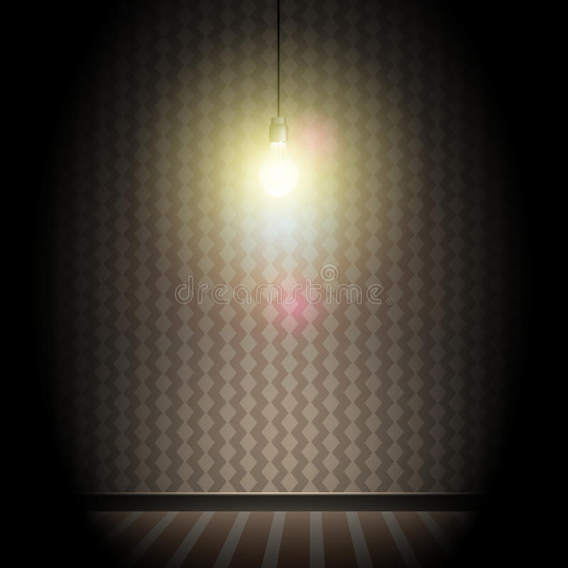 Vintage Dark Room with Bright Glowing Light Bulb royalty free stock photography