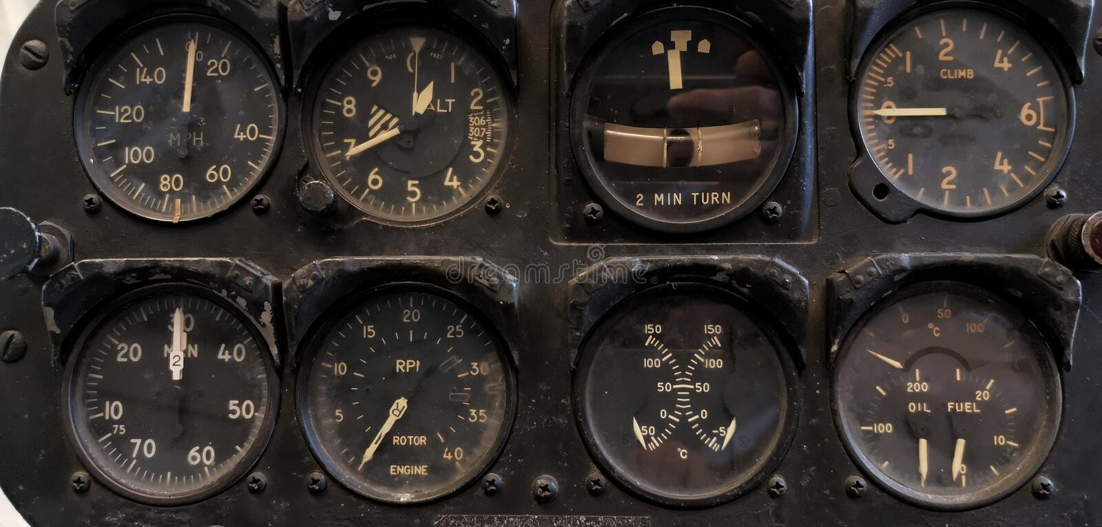 Vintage dashboard of helicopter. With gauges, instruments, cockpit, deck, air, altimeter, altitude, electronics, aviation, old, readings, marks, flight, fly royalty free stock photography