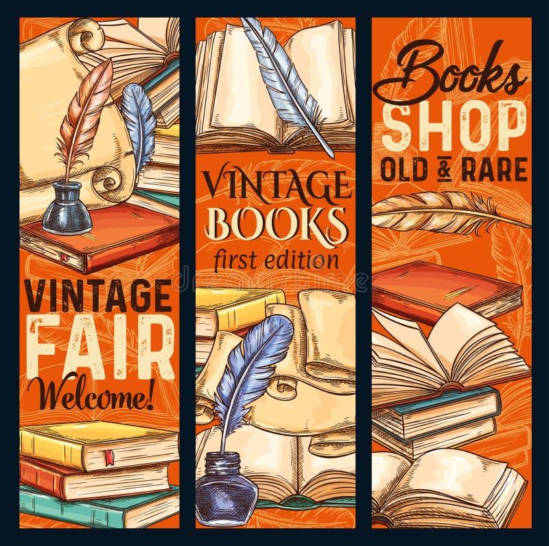 Vintage de bannières de croquis de vecteur le vieux réserve le shoop illustration stock