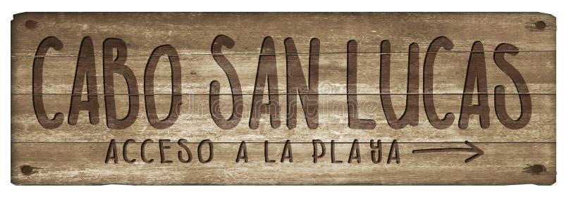 Vintage de Cabo San Lucas Mexico Beach Sign Wood stock de ilustración