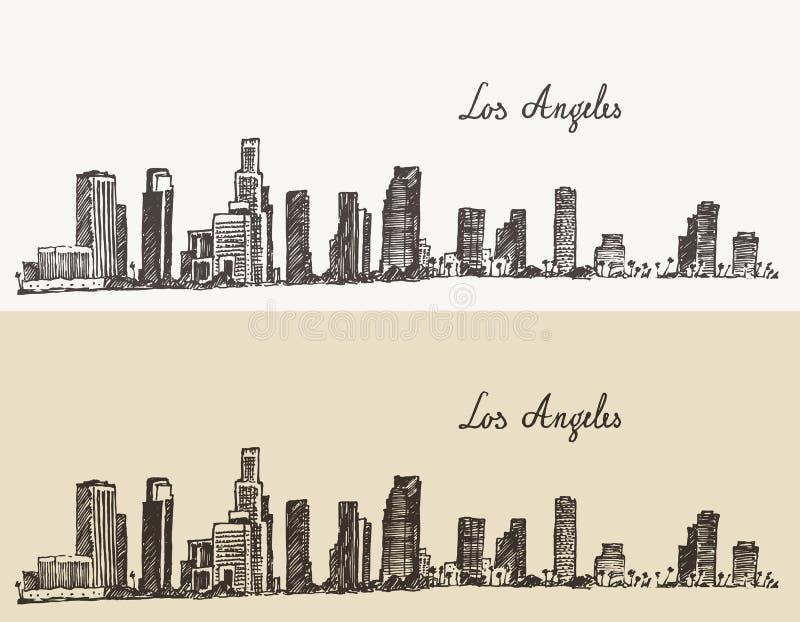 Vintage de Califórnia da skyline de Los Angeles gravado ilustração do vetor