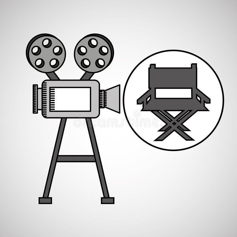 Vintage de film d'appareil-photo avec la chaise de cinéaste illustration libre de droits