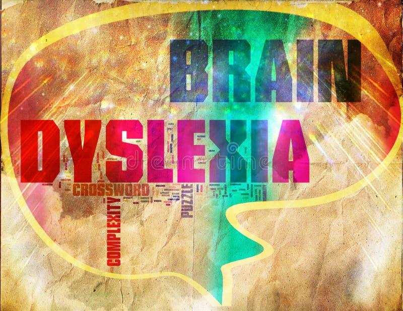 Vintage de grunge de mots croisé de cerveau de dyslexie illustration stock