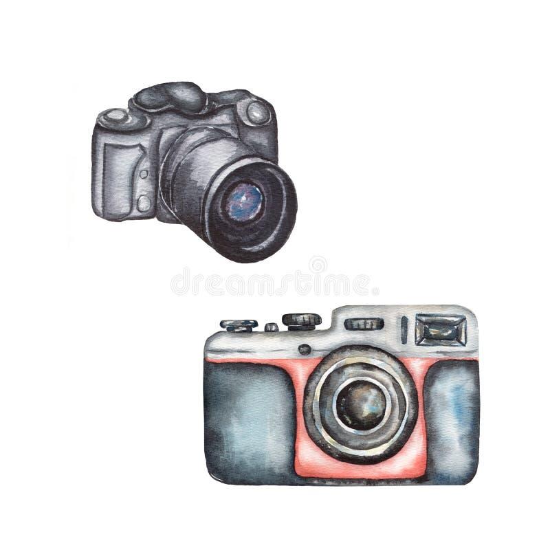 Vintage de la acuarela y cámara moderna de la foto fijados en el fondo blanco C?mara retra de la pel?cula Color negro y rojo libre illustration