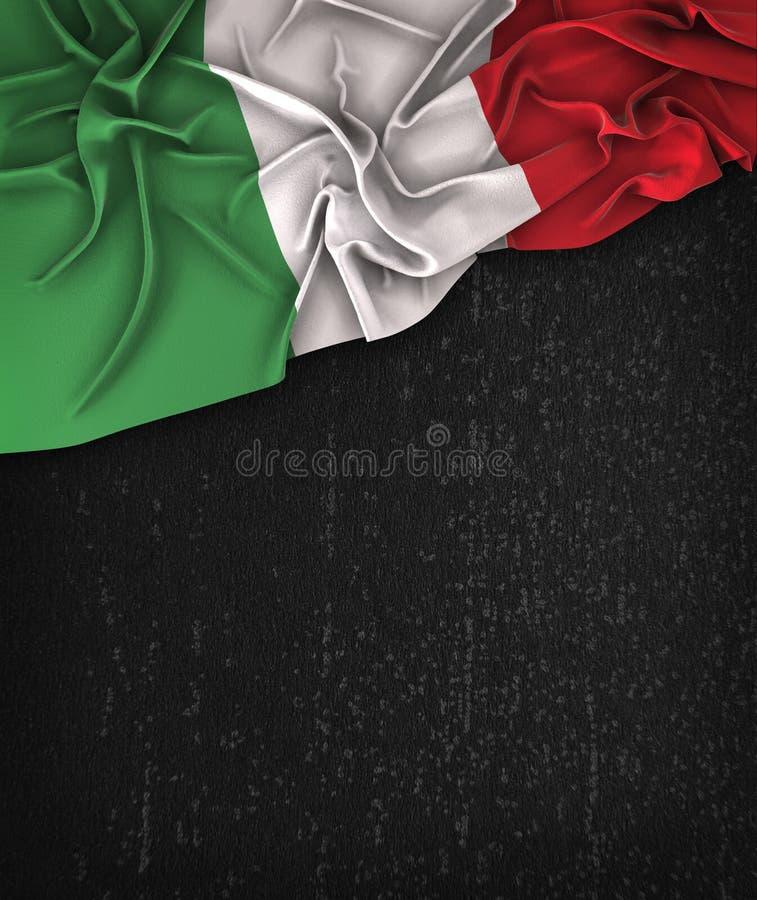 Vintage de la bandera de Italia en una pizarra del negro del Grunge con el espacio para T ilustración del vector