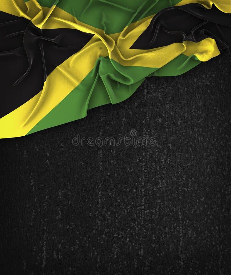 Vintage de la bandera de Jamaica en una pizarra del negro del Grunge con el espacio para stock de ilustración