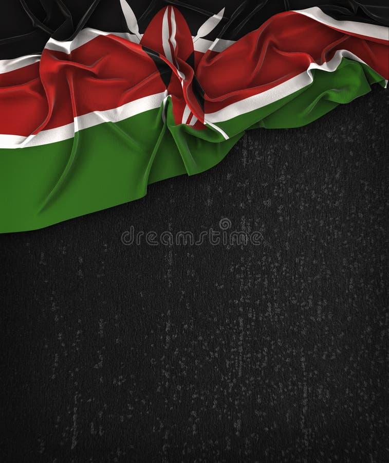 Vintage de la bandera de Kenia en una pizarra del negro del Grunge con el espacio para T ilustración del vector