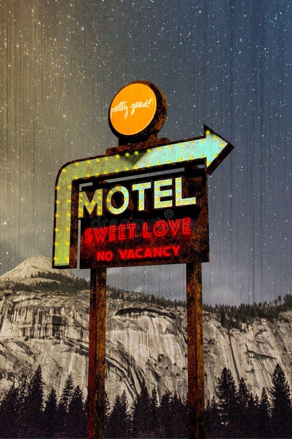 Vintage de la muestra del motel stock de ilustración
