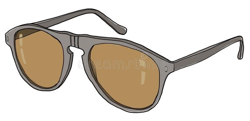Vintage de las gafas de sol de Brown ilustración del vector