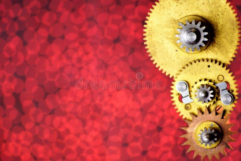 Vintage de los detalles del mecanismo alrededor de los engranajes dentados, en el fondo para el diseño Los engranajes transmiten  ilustración del vector