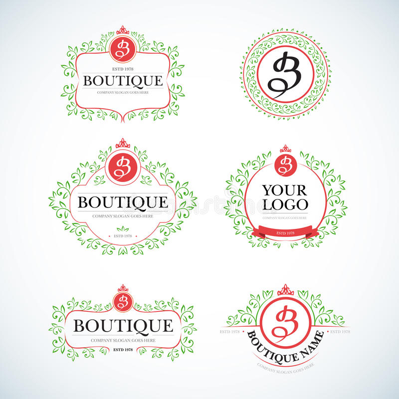 Vintage de luxe de boutique, calibres de logo de crêtes réglés Signe d'affaires, identité pour le restaurant et boutique illustration stock