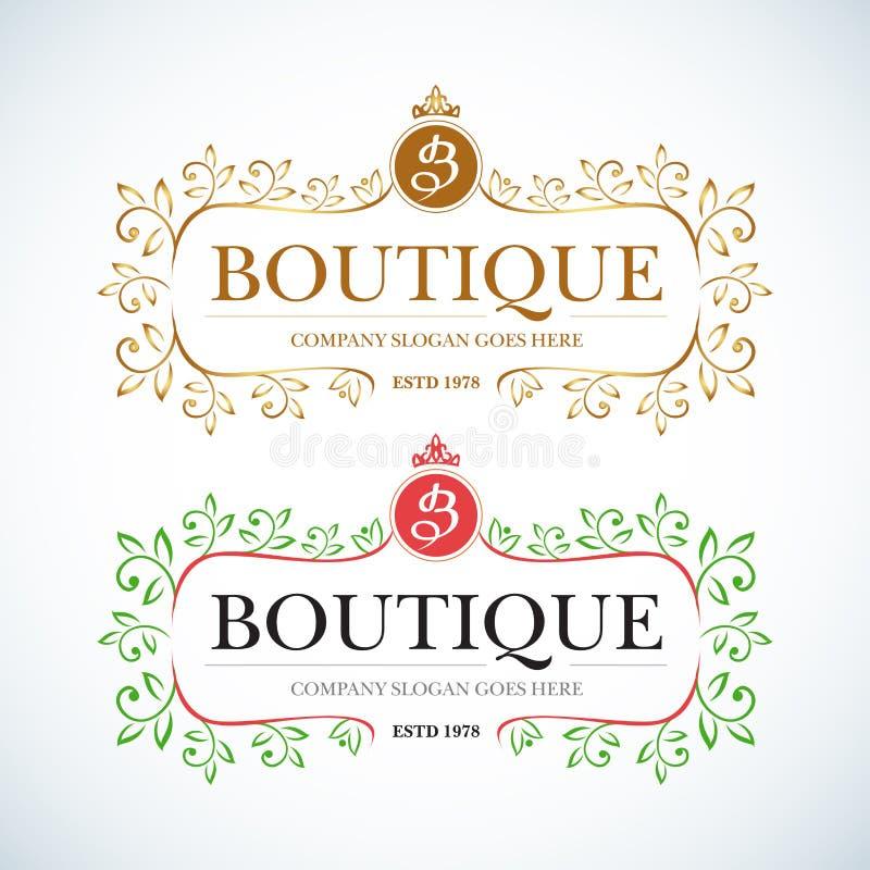 Vintage de luxe de boutique, logo de crêtes Signe d'affaires illustration de vecteur