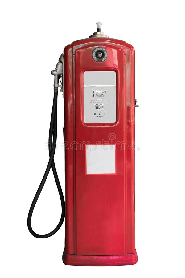 Vintage de reaprovisionamiento de combustible del tanque con color rojo aislado en el fondo blanco imágenes de archivo libres de regalías
