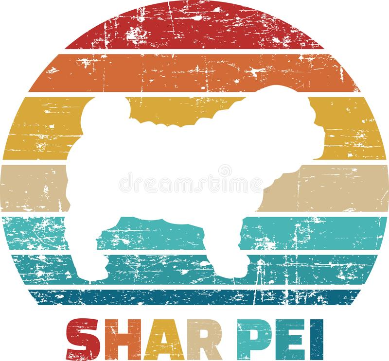 Vintage de Shar Pei ilustración del vector