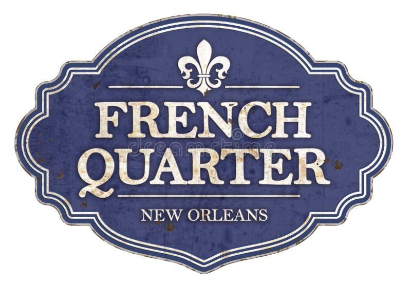 Vintage de signe d'émail de la Nouvelle-Orléans de quartier français rétro illustration de vecteur